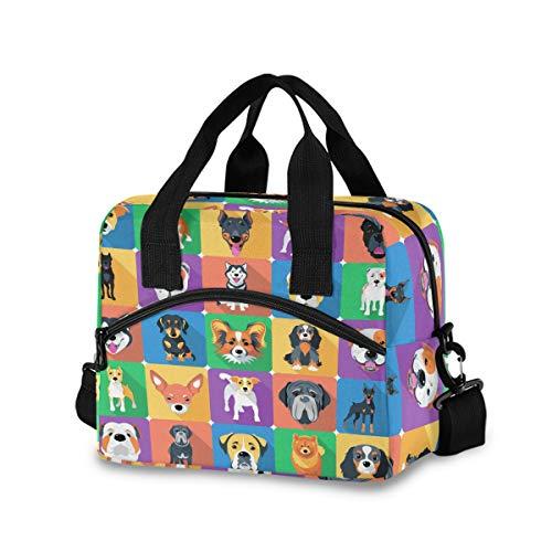 Bolsa de almuerzo para mujeres y hombres – Perro Icon diseño plano aislado bolsa con correa de hombro desmontable y asa de transporte, bolsa enfriadora reutilizable para trabajo, escuela, picnic