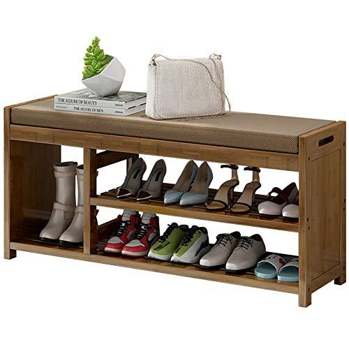 Organizador Zapatos Armario Mueble Zapatero Grande Bambú Banco de Entrada, 3 Niveles Organizador de Zapatos de Madera con Compartimentos para Botas, Moderno Marrón Soporte de Almacenamiento por Hogar