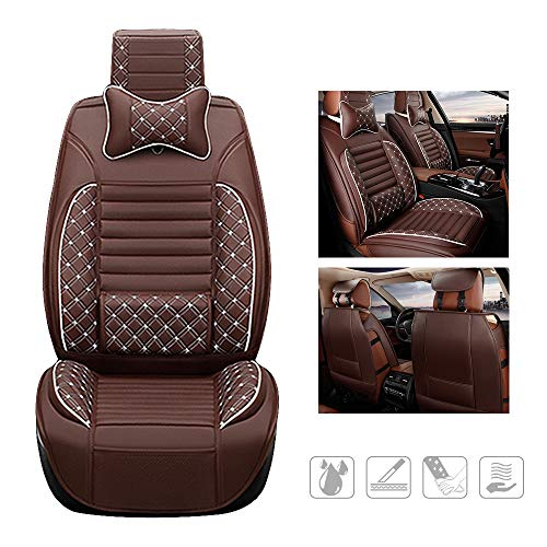huitelai - Fundas de asiento de coche para T oyota RAV4 4Runner Hilux Camry Prius Tundra Tacoma impermeables de piel sintética con fácil instalación – Primera fila y 2 almohadas marrón