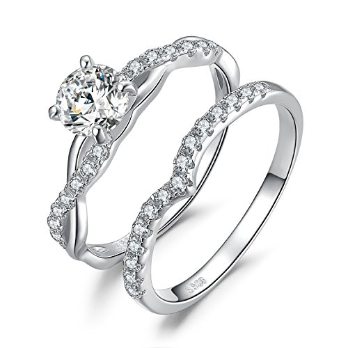 JewelryPalace Wedding Rings Bands Engagement Rings For Women Anniversary Promise Ring Bridal Sets 925 Sterling Silver 1.4ct Infinity Cubic Zirconia Simulated Diamond Size 8