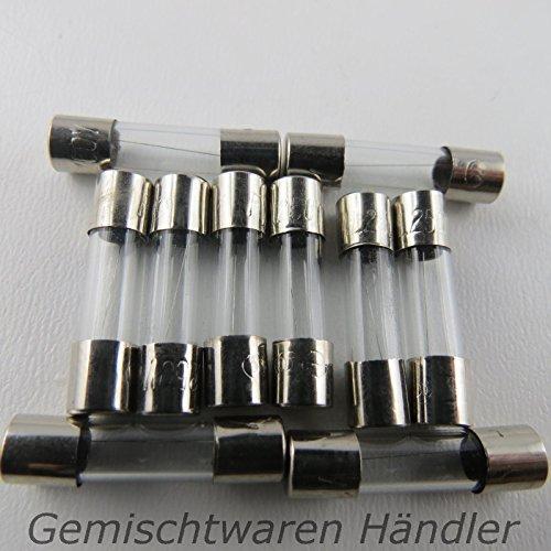Preisvergleich Produktbild Unbekannt 10 Stück Feinsicherung Glassicherung Flink 20mm 3 A Sicherungen 3A