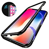 iPhone XR Hülle,Magnetische Adsorption Handyhülle mit Eingebauter Magnet Funktion, Ultra Dünn Tempered Glass Back Cover Case für Apple iPhone XR 6.1Zoll (Transparente Rückseite,Schwarze Bumper)