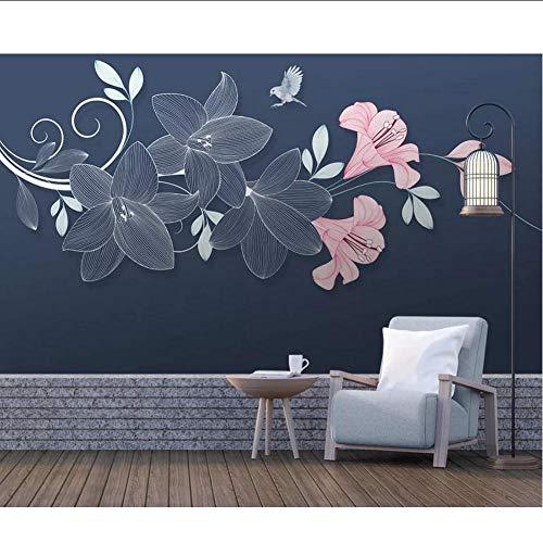3D bloem behang muurschildering voor woonkamer muur Art Decals op maat foto muur papier rollen Bloemen vogel muurschilderingen MRQXDP Papel de Parede 280x424cm