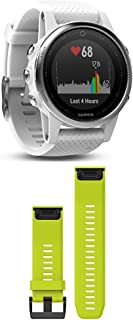 Garmin Fenix 5S - White with Carrara White Band and 010-12517-01 Fenix 5X Quick fit 26 Watch Band - Amp Yellow Silicone