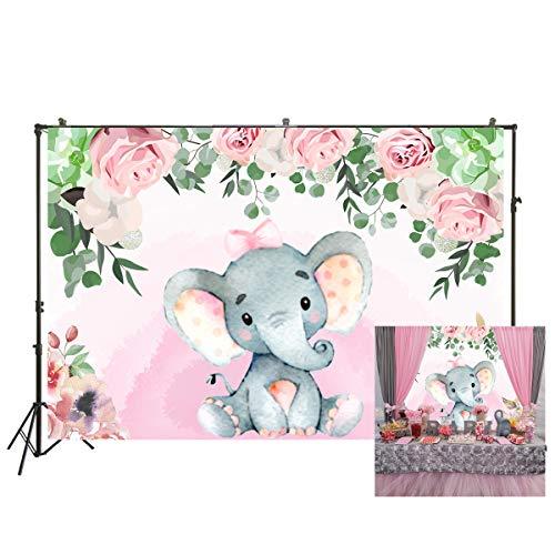 Nivius Photo 1540 - Fondo para Baby Shower, diseño de Rosas de Color Rosa (220 x 150 cm)