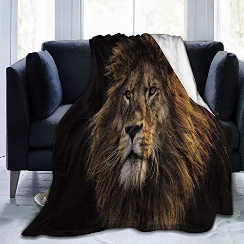 LISUMAL Manta de Franela Suave,León Fresco Noble Animal Salvaje Feroz Conciso Marrón Negro,Cama de Camping para sofá 127x102cm