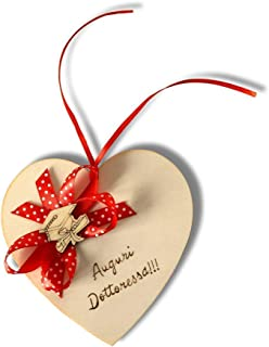 Biglietto auguri Laurea, cuore in legno personalizzato a mano con dedica