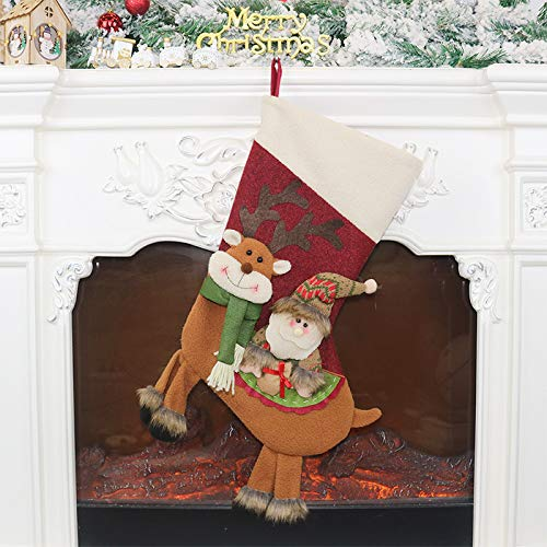 langchao Decoraciones navideñas Colgante de Papá Noel Calcetín navideño Bolsa de Regalo Decoración navideña Bolsa de Dulces navideños