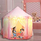 Orian Princess Play Tent Playhouse for Kids Outdoor & Indoor. Girls Princess Castle Tent with LED Star Lights for Imaginative & Pretend Games – ASTM Certified, Kids Play Tent. 55x53 inch (Pink Tent)