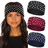 Winter Pearls Elastic Knitted Headband - 3 Pcs knitted Hairband Ear Warmer Solid Color Corchet Head Wrap for Women and Girls (Black+Navy+Wine red)