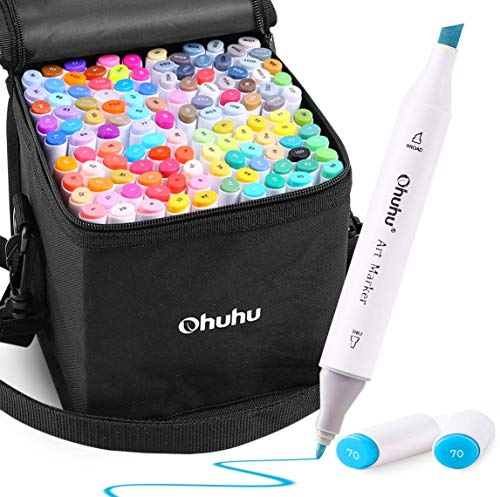 Alcohol Art Markers, Ohuhu 120 Colors Double Tipped Marker Set for Kids Adults Coloring, Chisel & Fine Tip Alcohol-based Sketch Markers, 1 Alcohol Marker Blender Included, Great Mothers