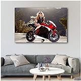 Motorrad Blonde Frauen sexy Body mit Wandkunst Poster Leinwand Gedruckt Kunstwerk Malerei für Wohnzimmer Decor-60x90cm-Kein Rahmen