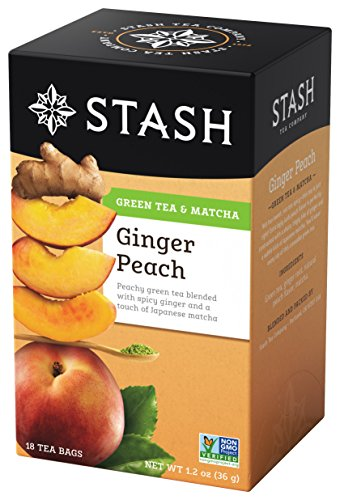 Stash Tea Ginger Peach Green Tea & Matcha Blend 18 Count Tea Bags in Foil (Pack of 6) (Packaging May Vary) Individual Green Tea Bags for Use in Teapots Mugs or Cups, Brew Hot Tea or Iced Tea