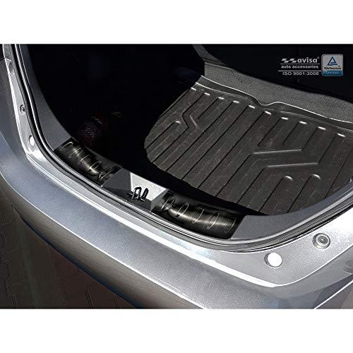Avisa Protection de seuil arrière d'intérieur inox noir compatible avec Nissan Leaf II 2017- 'Ribs'