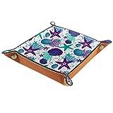 Bandeja de cuero para mujer, organizador de maquillaje de joyería para escritorio, aparador de noche, colorido patrón coral vida marina