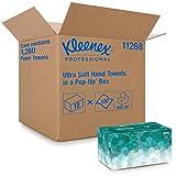 Kleenex U1126800 1126 Toallas de Manos Entrelazadas Ultra Soft Pop Up, 18 Cajas de 70 Hojas de Papel, Color: Blanco