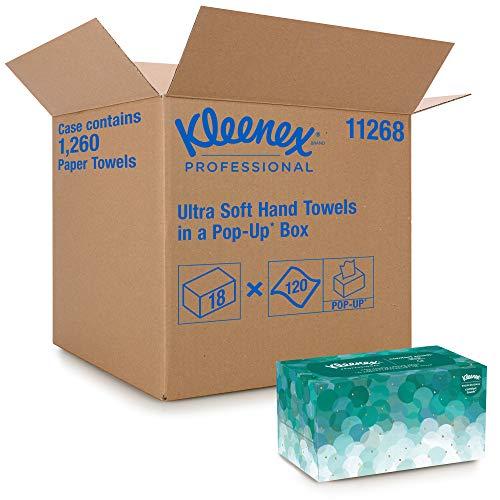 Kleenex extra weiche Ultra Soft Pop-up Boxen, Interfold Papierhandtücher, 1-lagig, 18 Packungen x 70 Blatt Papier, Einzelblattentnahme, Weiß, 1126