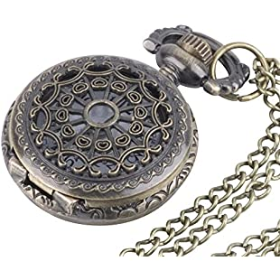 81stgeneration Men's Women's Analogue Quartz Vintage Style Ornate Pocket Watch Brass - 01glVCN085w