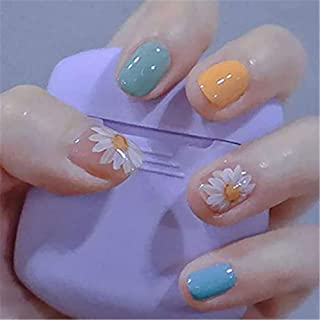 DELFINO Press on Nails Short Square Fake Nails with Design Glossy Daisy False Gel Nails Flower Acrylic Fake Fingernail Ful...