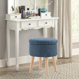 MAISON ARTS Round Storage Ottoman Vanity Stool Foot Stool Seat Dressing Chair Footrest Side Table Tufted Ottoman Coffee Table for Living Room Bedroom, Blue