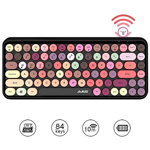 Tastiera Bluetooth wireless, simpatica tastiera compatta Mini a 84 tasti, tecnologia di connessione Bluetooth wireless a 2,4 GHz, retro keycap rotondo ABS, pannello opaco, design ergonomico (colore)