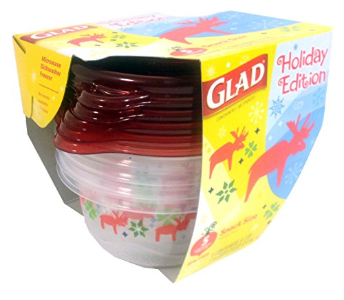 Glad Holiday Collection Food Storage Bowls with Lids 175 Cups 5 Containers