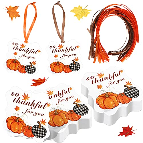 48 Pieces Thanksgiving Autumn Pumpkin So Thankful for You Gift Tags with Rope Pumpkin Thank You Present Tag Thanksgiving Pumpkin Hanging Label Thankful Party Favor Tags