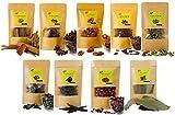 9 Assorted Spices Whole Biryani Masalas - Cardamom, Nutmeg Mace, Star Anise, Cinnamon, Clove, Stone Flower (Kalpasi), Bay Leaves , Marathi Moggu (Kapok Buds), Rose Petals Dried (115gm)