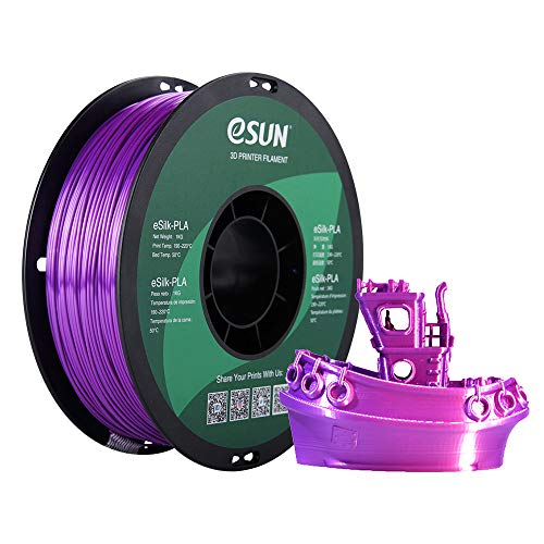 eSUN Seide PLA Filament 1.75mm, Seide Farbe PLA 3D Drucker Filament, Maßgenauigkeit +/- 0.05mm, 1KG (2.2 LBS) Spule für 3D Drucker in Vakuumverpackung, Seide Lila