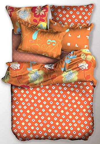 DecoKing Parure de Lit 200x200 2 Taies d'Oreillers 80x80 Housse de Couette Micro-Fibre Fermeture Éclair Basic Collection Jump Orange Blanc Bleu Jaune