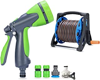 "Watering Water Gun Reel 1/2"" Hose Storage Rack Tool with Multi-Function Connector (Size : 25M)"