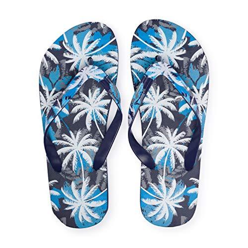 Chanclas Flip Flop Palmeras Azul Playa y Piscina para Hombre (43 EU, Palm)