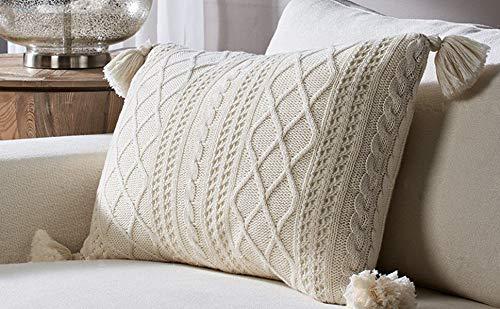 DOKOT Lendenwirbel-Kissenbezug, 100% Baumwolle, gestrickt, mit Quasten für Couch, Stuhl, Bett und Wohnaccessoire, Beige 16 x 24 Inch / 40 x 60 cm beige