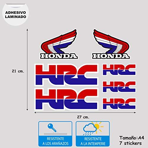 Sticker van vinyl, digitaal bedrukt, gelamineerd, compatibel met Honda HRC vel formaat A4, 7 stickers