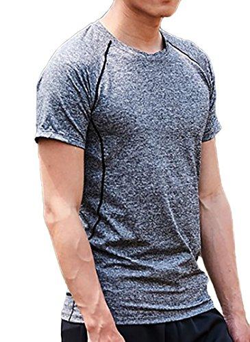 【26%OFF】[ジェームズ・スクエア]メンズ速乾ドライTシャツスポーツトレーニングシャツ半袖吸汗伸縮機能性タイトスリムフィットフィットネスアウトドアウェイト筋トレジムウェア