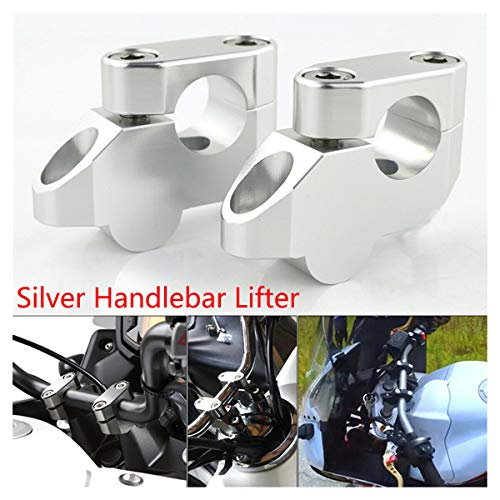 """1 Pair Universal 7/8"""" 22MM Silver Aluminum Motorcycle Handlebar Riser and Offset Kit with Bolts & Washers Easy to Install with the Allen Wrench Compatible with Honda CBF 1000/500 /600 CBX 650/750"""