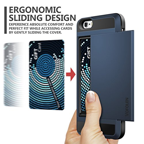 iPhone 6 Case, Vofolen Impact Resistant Protective Shell iPhone 6S Wallet Cover Shockproof Rubber Bumper Case Anti-scratches Hard Cover Skin Card Slot Holder for iPhone 6 6S 4.7 inch -Dark Blue