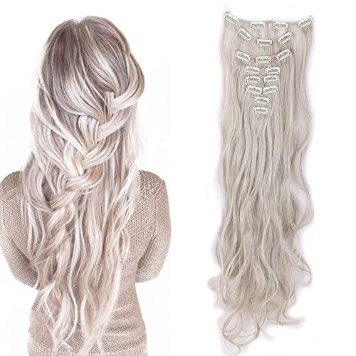 S-noilite 24 Inches Long Curly Full Head Clip in Synthetic Hair Extensions 8pcs 170g (24'-Curly, Ash Blonde Mix Silver Grey)