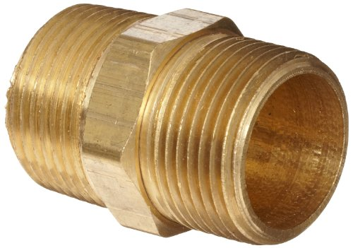 Anderson Metals 56122-12 Brass Pipe Fitting, Hex Nipple, 3/4 x 3/4 Male Pipe