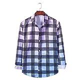 Camisa Informal de Manga Larga con Cuello de Solapa para Hombre, Camisa básica con Botones a la Moda con Estampado a Cuadros de Color Degradado con Personalidad XL