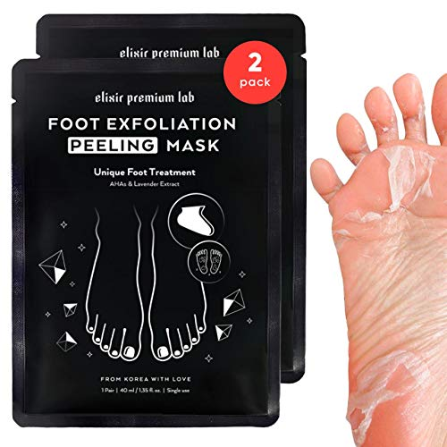 Foot Peel Mask KOREAN - Soft Touch Baby Feet in 2 Weeks - Exfoliating & Moisturizing Peel Off Bootie for Dry Foot - Peeling Off Calluses Dead Skin - Elixir Premium Skincare for Men & Women [2 Pack]
