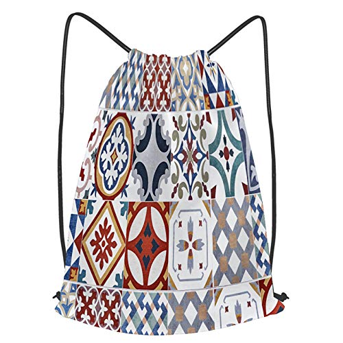 Unisex Yoga Cinch Sack Drawstring Bags texture ceramic tiles oriental style portugal Waterproof Backpack Sports Gym Bag Casual Daypack