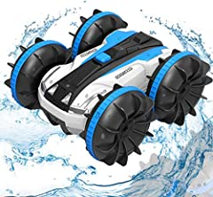 ☛【 A lot of fun】This toy car is amphibious, able to move forward/backward, rotate left/right (360 degree rotation), respond quickly, accelerate rapidly and operate easily. Playing on the beach, lawn, track and water can provide you with abundant fun....