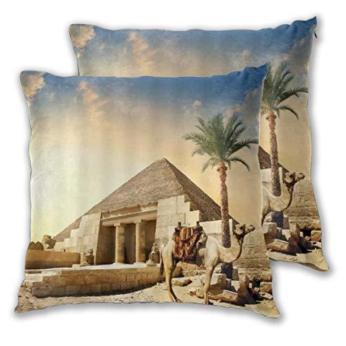 ALLMILL Juego de 2 Decorativo Funda de Cojín Pyramid Desert Exotic Camel Tropic Palm Tree Pequeñas ruinas de pirámide bajo el Cielo Soleado Funda de Almohada Cuadrado para Sofá Cama Decoración para
