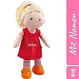 HABA Stoffpuppe Annelie mit Namen Bestickt, weiche Erste Baby Puppe mit Kleidung und Haaren, 0-5...