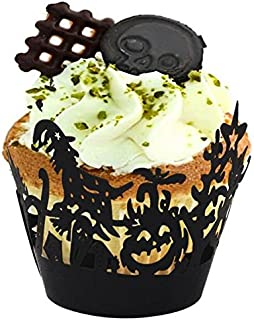 Since Pack of 60 Halloween Spiderweb/Witch/Castle Laser Cut Cupcake Wrappers Liners Party Decorations New Year Christmas decorations (Witch)