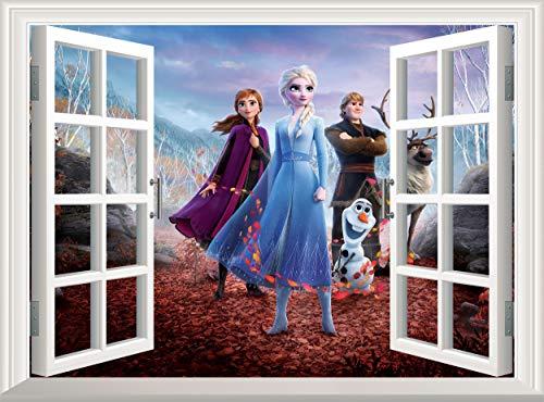 Frozen Wall Decal 3D Window Wall Sticker Removable Poster Wall Mural Wallpaper Vinyl Photo Decor Kids Children Room Nursery (120x75 cm)