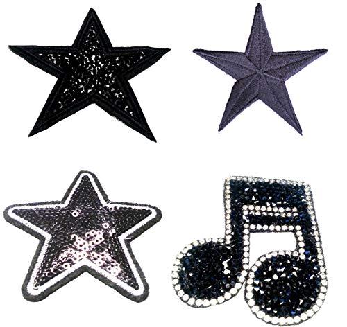 b2see Strass Glitzer Stern Sterne Aufnäher Patches Applikationen mit Strass Pailletten Stern-e Set Strass Schwarz groß Glitzer zum aufbügeln 4 STK im Set