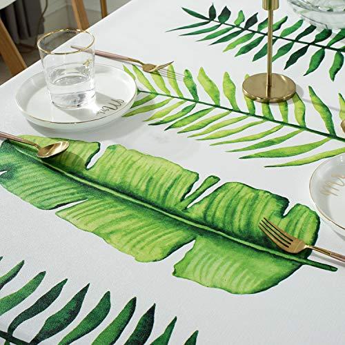Qualsen テーブルクロス長方形 北欧 テーブルカバー 撥水 防水 防油 PVC製 おしゃれ 137×200cm(モダンリーフ柄)