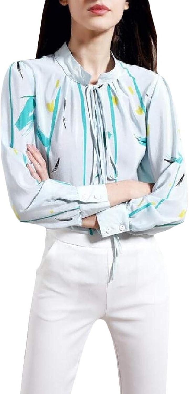 Hajotrawa Women Work LongSleeve Silk VNeck Top Printed Shirt